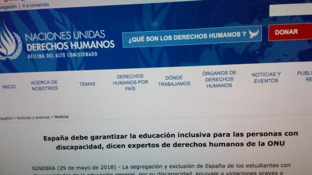 Informe del Comité de la ONU sobre el estado de la Educación Inclusiva en España